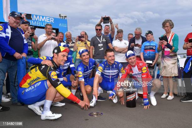 Podium / Dries Devenyns of Belgium and Team Deceuninck Quick Step / Remco Evenepoel of Belgium and Team Deceuninck Quick Step / Fabio Jakobsen of The...