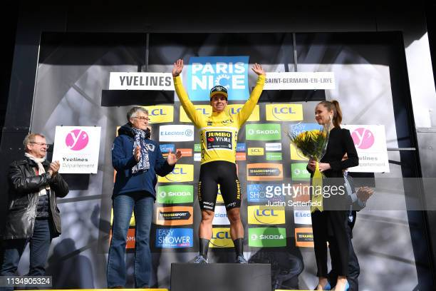 Podium / Dylan Groenewegen of Netherlands and Team Jumbo Visma Yellow Leader Jersey / Celebration / during the 77th Paris Nice 2019 Stage 1 a 1385km...