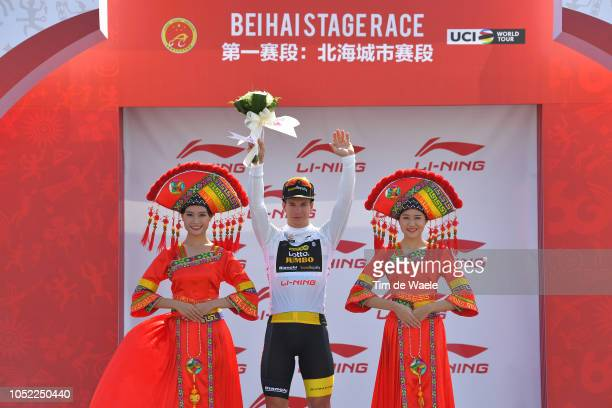 Podium / Dylan Groenewegen of The Netherlands and Team LottoJumbo White Best Young Rider Jersey / Celebration / during the 2nd Tour Of Guangxi 2018...
