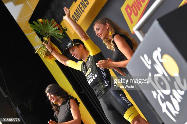 Podium / Dylan Groenewegen of The Netherlands and Team LottoNL - Jumbo Celebration / during the 105th Tour de France 2018, Stage 8 a 181km stage from...