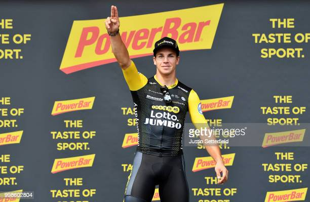 Podium / Dylan Groenewegen of The Netherlands and Team LottoNL - Jumbo / Celebration / during the 105th Tour de France 2018, Stage 8 a 181km stage...