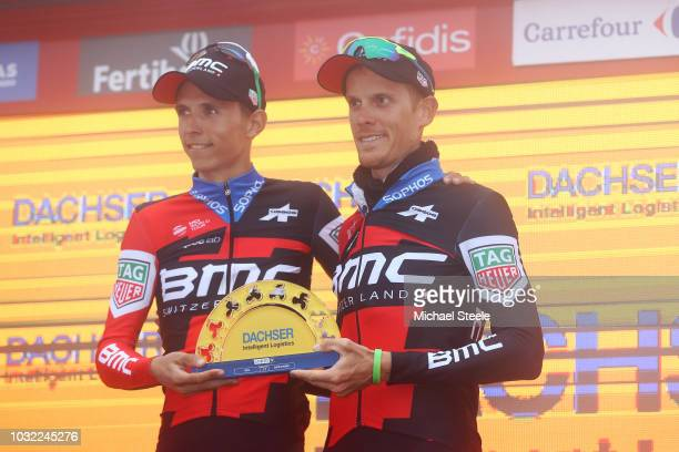 Podium / Dylan Teuns of Belgium and BMC Racing Team / Alessandro De Marchi of Italy and BMC Racing Team / Best Team Celebration / Celebration /...