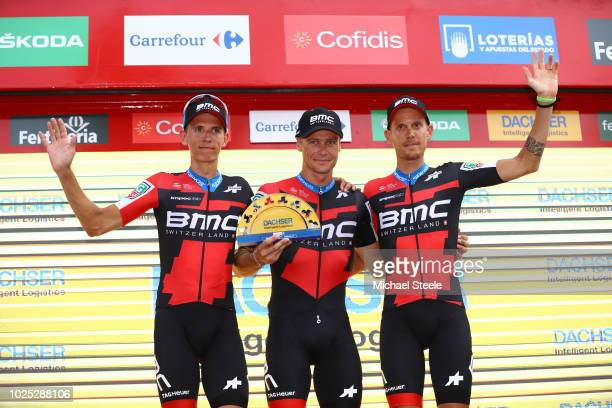 Podium / Dylan Teuns of Belgium and BMC Racing Team / Nicolas Roche of Ireland and BMC Racing Team / Alessandro De Marchi of Italy and BMC Racing...