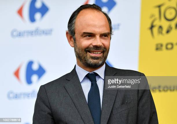 Podium / Edouard Philippe of France, French Prime Minister / during the 105th Tour de France 2018, Stage 13 a 169,5km stage from Bourg d'Oisans to...