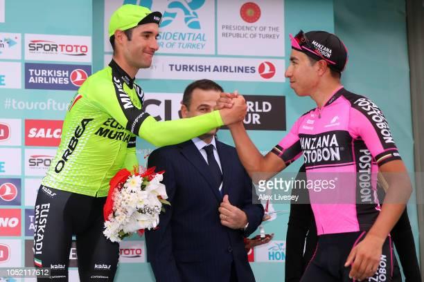 Podium / Eduard Prades Reverte of Spain and Team Euskadi Basque CountryMurias / 3th Best Mountain Rider / Aldemar Reyes Ortega of Colombia and...