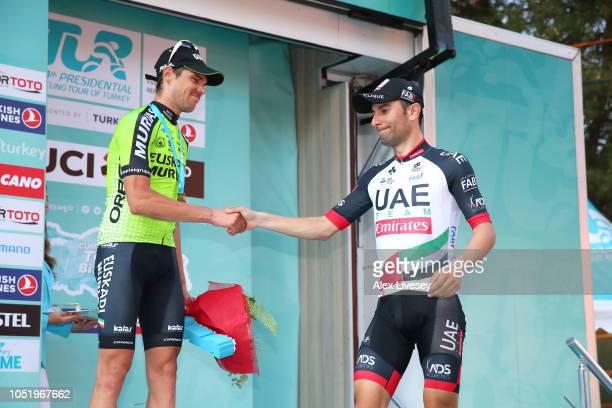 Podium / Eduard Prades Reverte of Spain and Team Euskadi Basque Country-Murias Bronze Medal / Diego Ulissi of Italy and UAE Team Emirates Silver...