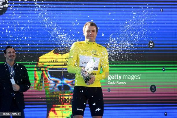 Podium / Edvald Boasson Hagen of Norway and Team Dimension Data Yellow Leader Jersey / Celebration / Champagne / during 70th Volta a la Comunitat...