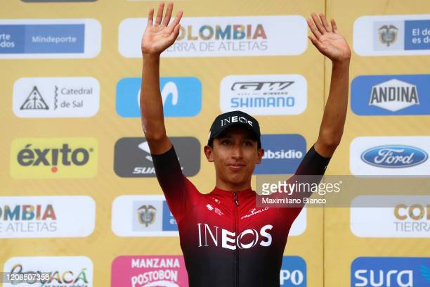 Podium / Egan Arley Bernal Gomez of Colombia and Team INEOS / Celebration / during the 3rd Tour of Colombia 2020, Stage 5 a 180,5km stage from Paipa...