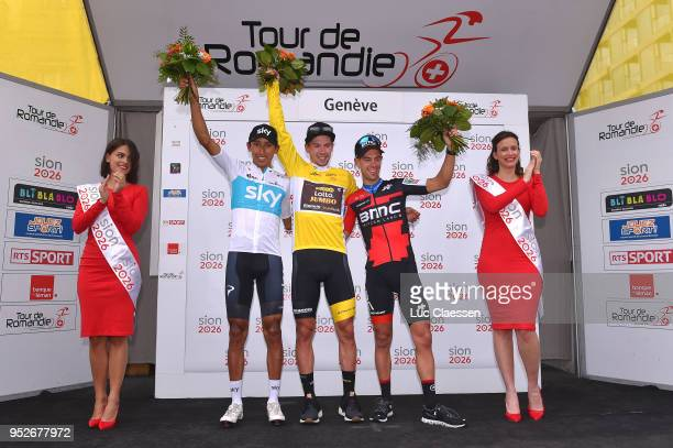 Podium / Egan Arley Bernal Gomez of Colombia and Team Sky / Primoz Roglic Yellow Leader Jersey / Richie Porte of Australia and BMC Racing Team /...