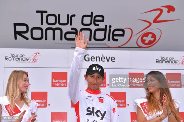 Podium / Egan Arley Bernal Gomez of Colombia and Team Sky White Best Young Rider Jersey / Celebration / during the 72nd Tour de Romandie 2018 Stage 5...