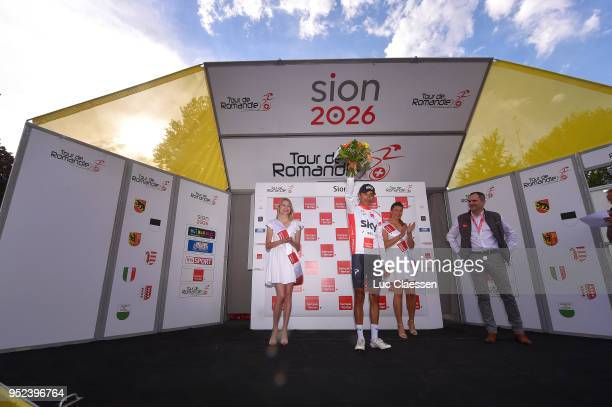 Podium / Egan Arley Bernal Gomez of Colombia and Team Sky / White young rider jersey Celebration / during the 72nd Tour de Romandie 2018 Stage 4 a...
