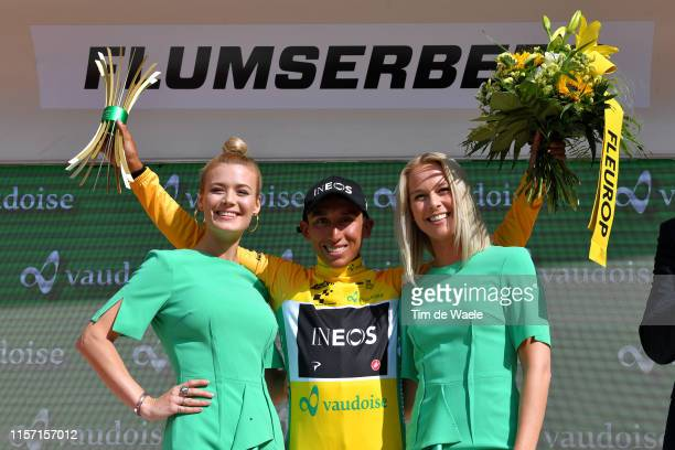 Podium / Egan Arley Bernal of Colombia and Team INEOS / Celebration / Miss / Hostess / Trophy / Flowers / during the 83rd Tour of Switzerland - Stage...