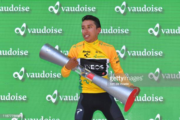 Podium / Egan Arley Bernal of Colombia and Team INEOS Yellow Leader Jersey / Celebration / Trophy / during the 83rd Tour of Switzerland Stage 9 a...