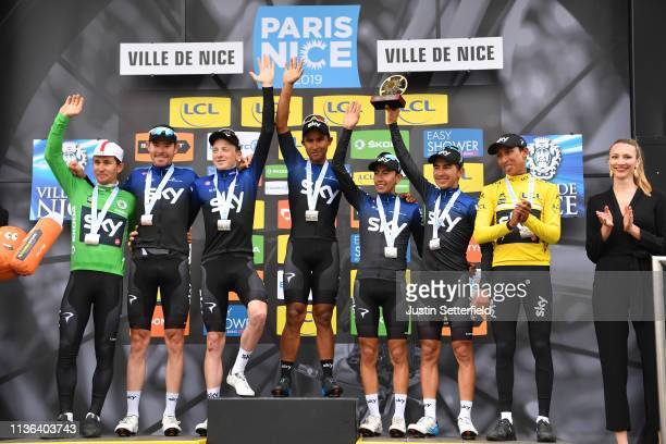 Podium / Egan Arley Bernal of Colombia and Team Sky Yellow Leader Jersey / Michal Kwiatkowski of Poland and Team Sky Green Points Jersey / Tao...