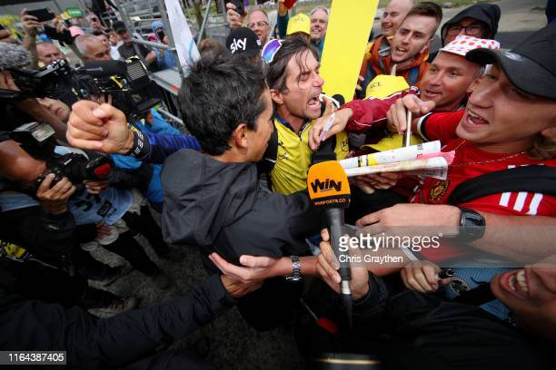 Podium / Egan Bernal of Colombia and Team INEOS Yellow Leader Jersey / Fans / Celebration / during the 106th Tour de France 2019, Stage 19 a 126,5km...