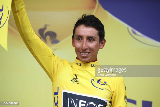 Podium / Egan Bernal of Colombia and Team INEOS Yellow Leader Jersey / Celebration / during the 106th Tour de France 2019 Stage 20 a 595km stage from...