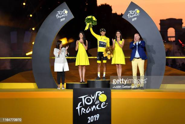 Podium / Egan Bernal of Colombia and Team INEOS Yellow Leader Jersey / Celebration / Anne Hidalgo Paris Mayor / Miss / Hostess / Arc De Triomphe /...