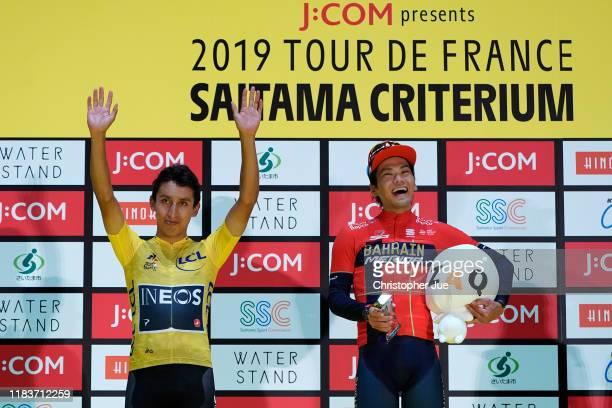 Podium / Egan Bernal of Colombia and Team INEOS Yellow Leader Jersey / Yukiya Arashiro of Japan and Team Bahrain-Merida Tour of France Japan Rider /...