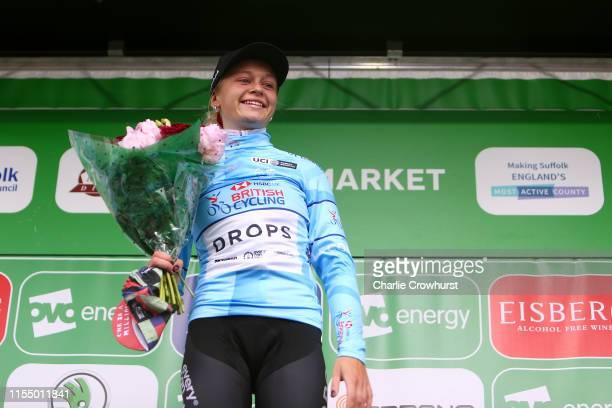 Podium / Eleanor Dickinson of the United Kingdom and Cycling Team Drops Blue HSBC UK British Cycling best British rider jersey / Celebration /...