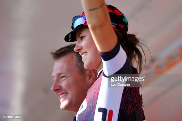 Podium / Elena Cecchini of Italy and Team Canyon-Sram Racing / Blue Sprint jersey Celebration / during the 21st Boels Rental Ladies Tour 2018, Stage...