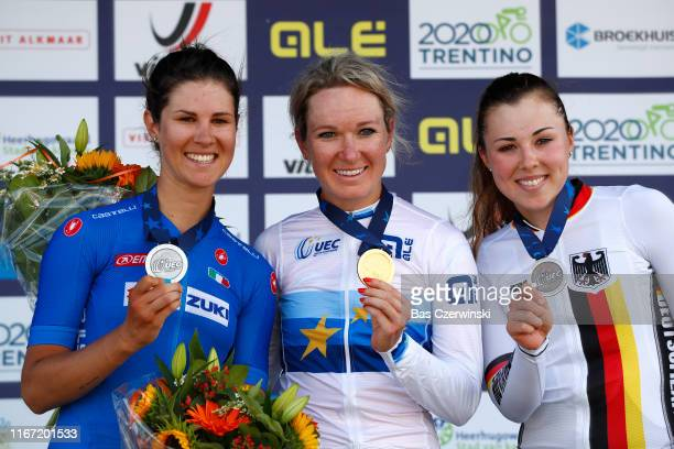 Podium / Elena Cecchini of Italy Silcer Medal / Amy Pieters of Netherlands Gold Medal / Lisa Klein of Germany Bronze Medal / Celebration / during the...