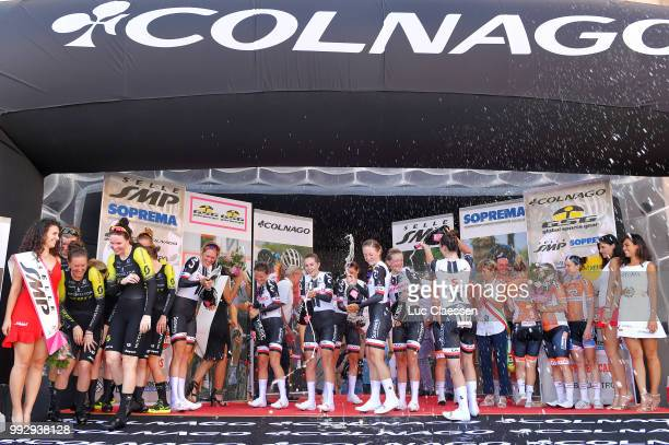 Podium / Eleonora van Dijk of The Netherlands / Lucinda Brand of The Netherlands / Leah Kirchmann of Canada / Juliette Labous of France / Liane...