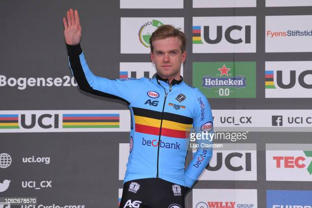 Podium / Eli Iserbyt of Belgium and Team Belgium Silver Medal / Celebration / during the 70th Cyclo-cross World Championships Bogense 2019, Men Under...