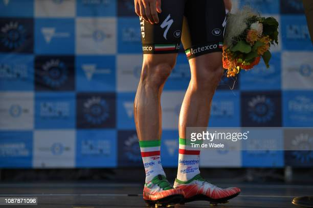 Podium / Elia Viviani of Italy and Deceuninck - Quick-Step Team / Shoe / Legs / Detail view / Celebration / during the 3rd Toward Zero Race Melbourne...