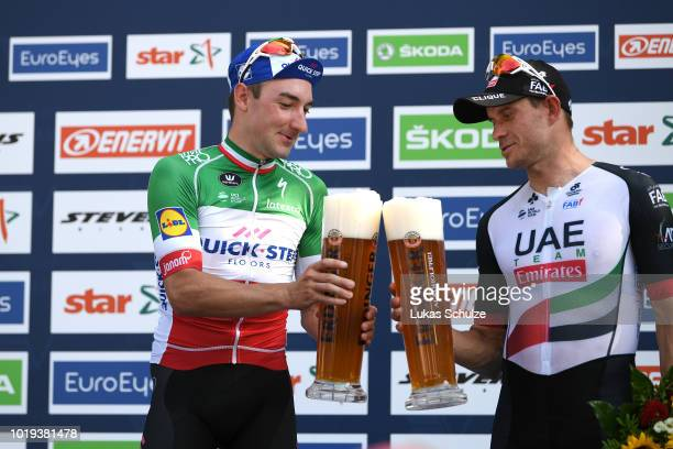 Podium / Elia Viviani of Italy and Team Quick Step Floors / Alexander Kristoff of Norway and UAE Team Emirates / Celebration / Beer / during the 23rd...