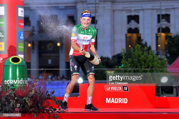 Podium / Elia Viviani of Italy and Team QuickStep Floors / Celebration / Champagne / Madrid Town Hall / Plaza Cibeles / during the 73rd Tour of Spain...
