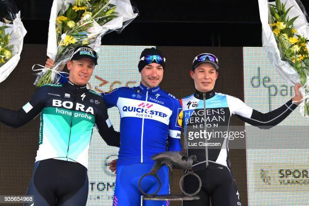 Podium / Elia Viviani of Italy and Team Quick-Step Floors of Belgium / Celebration / Pascal Ackermann of Germany and Team Bora-Hansgrohe / Jasper...