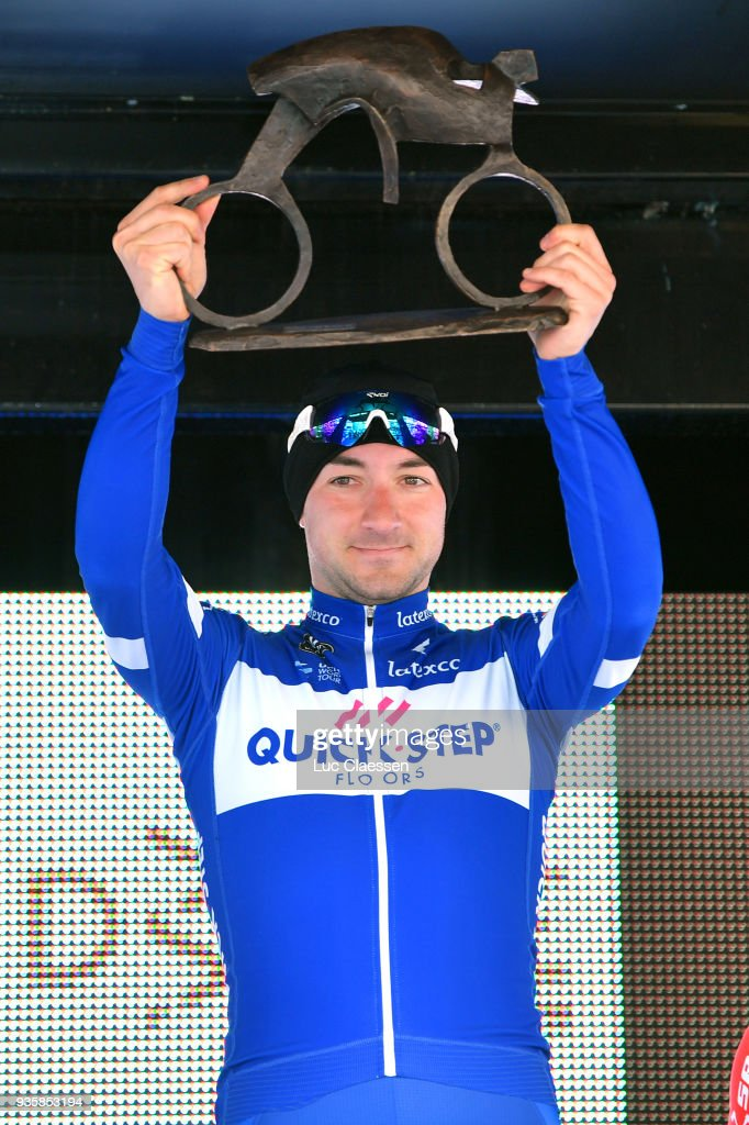 Podium / Elia Viviani of Italy and Team Quick-Step Floors of Belgium / Celebration / Trophy / during the 42nd 3 Days De Panne 2018 a 202,4km race from Brugge to De Panne on March 21, 2018 in De Panne, Belgium.