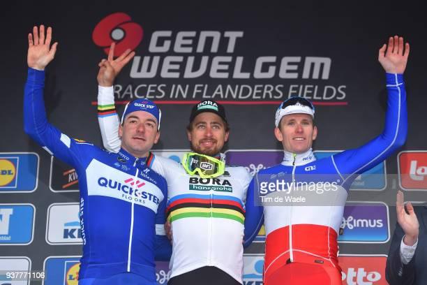 Podium / Elia Viviani of Italy and Team QuickStep Floors / Peter Sagan of Slovakia and Team Bora Hansgrohe / Arnaud Demare of France and Team...