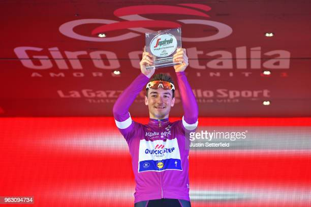 Podium / Elia Viviani of Italy and Team Quick-Step Floors Purple Points Jersey / Celebration / Trophy Segafredo Zanetti / during the 101st Tour of...
