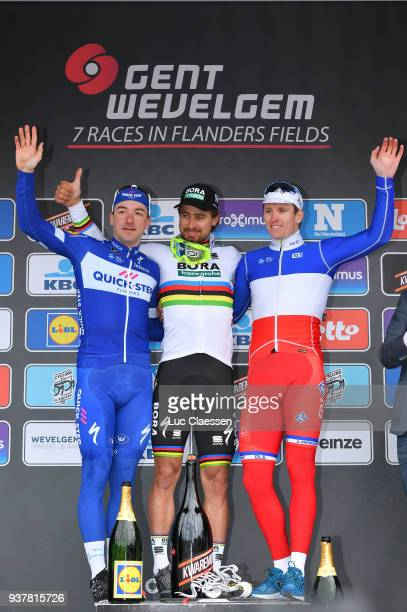 Podium / Elia Viviani of Italy/ Peter Sagan of Slowakia/ Arnaud Demare of France/ Celebration / during the 80th GentWevelgem In Flanders Fields 2018...