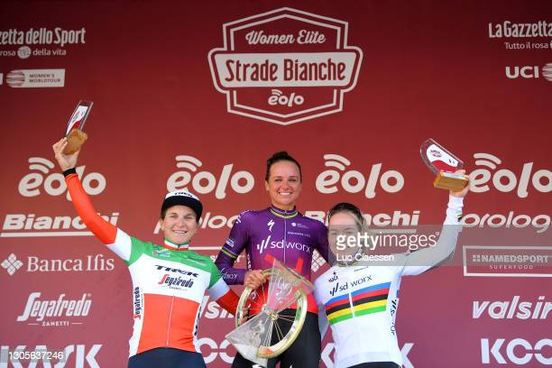 Podium / Elisa Longo Borghini of Italy and Team Trek- Segafredo, Chantal Van Den Broek - Blaak of The Netherlands and Team SD Worx & Anna Van Der...