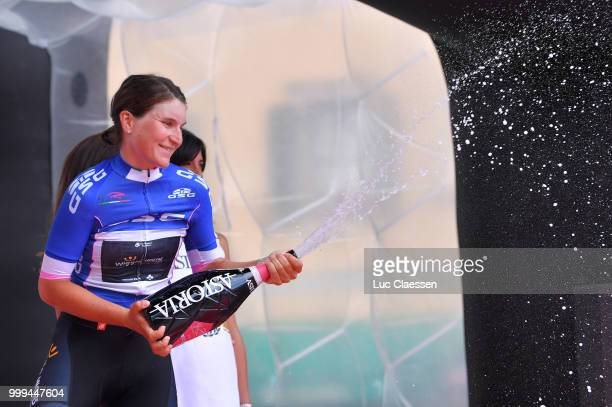 Podium / Elisa Longo Borghini of Italy and Team Wiggle High5 5 Blue Best Italian Rider / Celebration / Champagne / during the 29th Tour of Italy 2018...