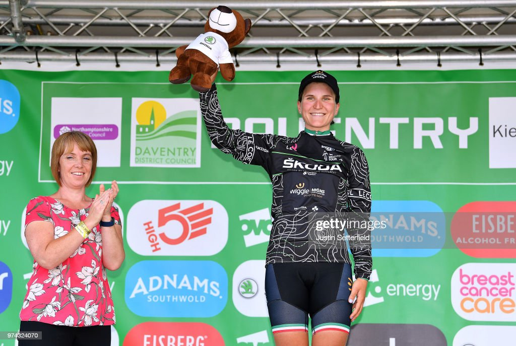 Podium / Elisa Longo Borghini of Italy and Team Wiggle High5 Black Mountain Jersey / Celebration / Trophy / during the 5th OVO Energy Women's Tour 2018 / Stage 2 a 143,9km stage from Rushden to Daventry on June 14, 2018 in Daventry, England.