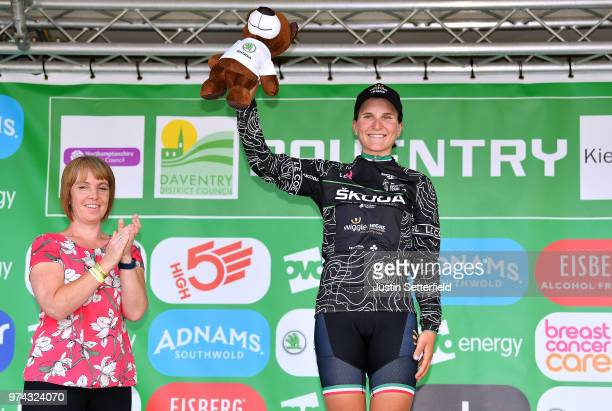 Podium / Elisa Longo Borghini of Italy and Team Wiggle High5 Black Mountain Jersey / Celebration / Trophy / during the 5th OVO Energy Women's Tour...
