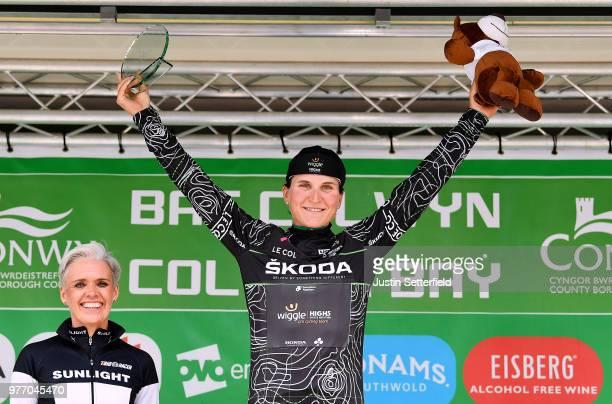 Podium / Elisa Longo Borghini of Italy and Team Wiggle High5 Black Mountains Jersey / Celebration / during the 5th OVO Energy Women's Tour 2018,...