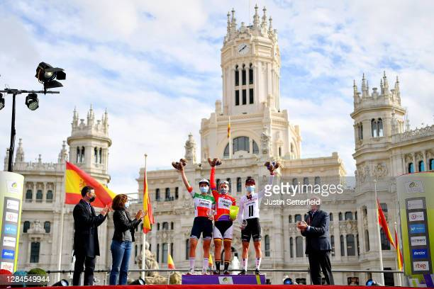 Podium / Elisa Longo Borghini of Italy and Trek- Segafredo / Lisa Brennauer of Germany and Ceratizit WNT Pro Cycling Team Red Leader Jersey / Lorena...