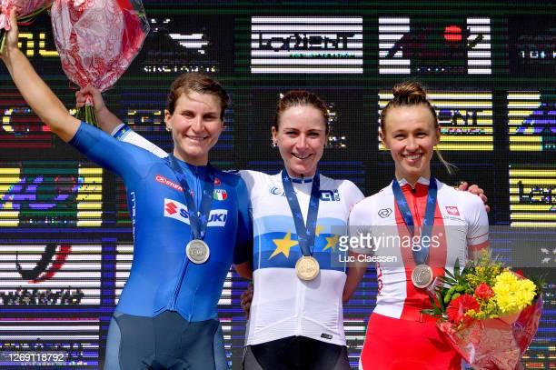 Podium / Elisa Longo Borghini of Italy Silver medal / Annemiek Van Vleuten of The Netherlands European Champion Jersey Gold medal / Katarzyna...