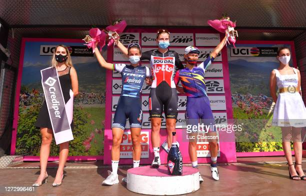 Podium / Elisabeth DeignanArmitstead of The United Kingdom and Team Trek Segafredo / Lotte Kopecky of Belgium and Team Lotto Soudal Ladies /...