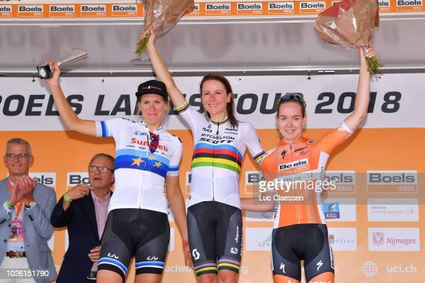 Podium / Ellen Van Dijk of Netherlands and Team Sunweb European Champion Jersey / Annemiek Van Vleuten of Netherlands and Team Mitchelton - Scott /...