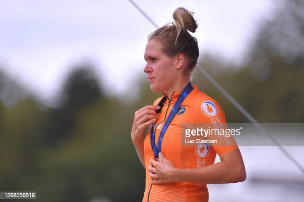 Podium / Ellen Van Dijk of Netherlands Silver Medal / Celebration / during the 26th UEC Road European Championships 2020 - Women's Elite Individual...