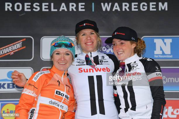 Podium / Ellen van Dijk of The Netherlands and Team Sunweb / Amy Pieters of The Netherlands and Boels Dolmans Cycling Team / Floortje Mackaij of The...