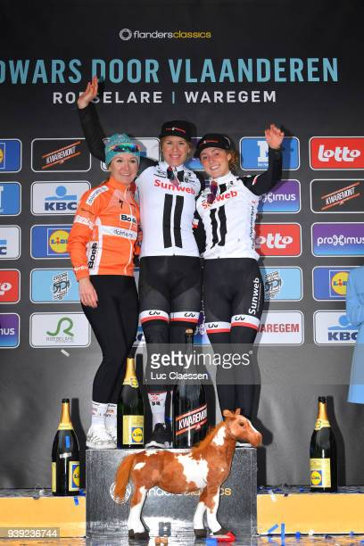 Podium / Ellen van Dijk of The Netherlands and Team Sunweb / Amy Pieters of The Netherlands and Boels - Dolmans Cycling Team / Floortje Mackaij of...