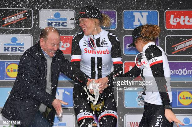 Podium / Ellen van Dijk of The Netherlands and Team Sunweb / Floortje Mackaij of The Netherlands and Team Sunweb /Celebration / Champagne / during...