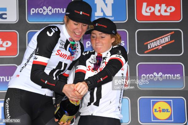 Podium / Ellen van Dijk of The Netherlands and Team Sunweb / Floortje Mackaij of The Netherlands and Team Sunweb /Celebration / during the 7th Dwars...
