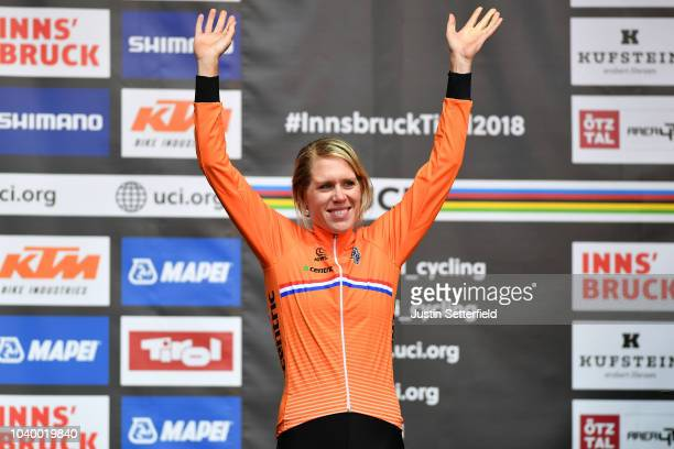 Podium / Ellen Van Dijk of The Netherlands / Bronze Medal / Celebration / during the Women Elite Individual Time Trial a 27,8km race from Wattens to...